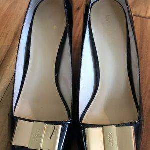kate spade Shoes - Kate Spade Black Peep Tow Gold Bow Heels Sz 10